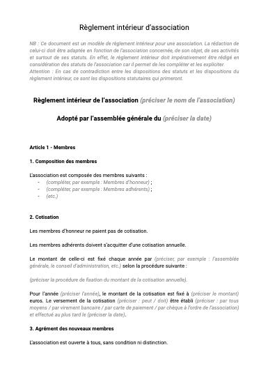 Règlement intérieur d'association