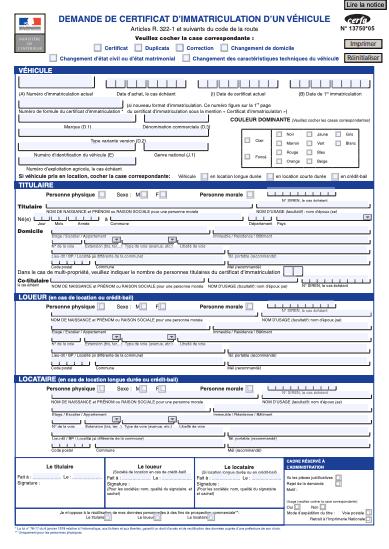 Demande de certificat d'immatriculation d'un véhicule neuf
