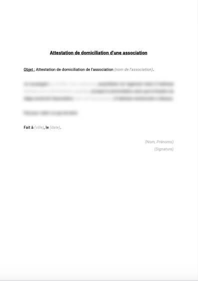Attestation de domiciliation d'une association