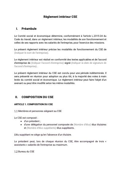 Règlement intérieur CSE