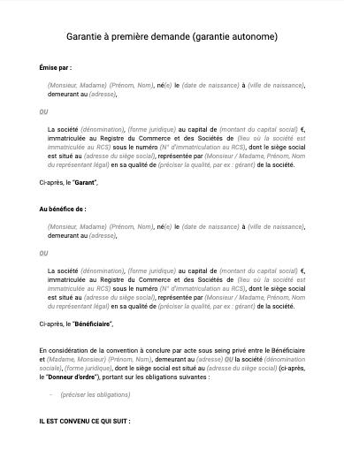 Garantie à première demande (garantie autonome)