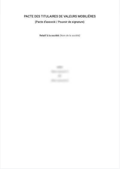 Pouvoir de signature (pacte d'associés)