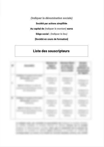 Liste de souscripteurs types