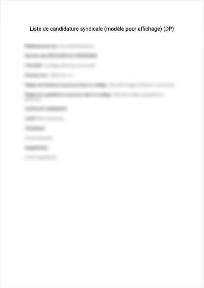 Liste de candidature syndicale (modèle pour afficharge avant 2020)