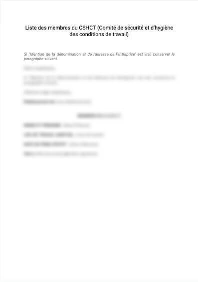 Liste des membres du CHSCT (avant 2020)