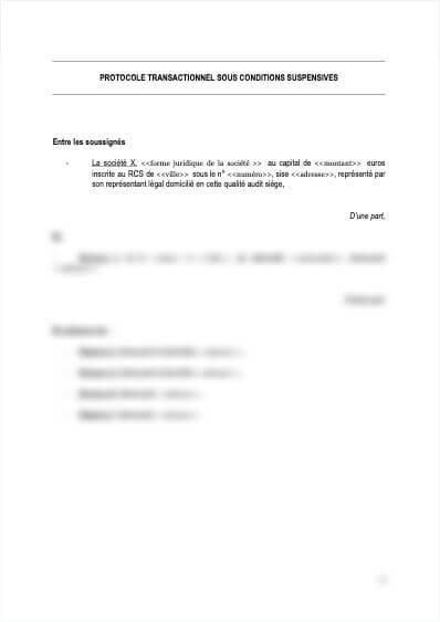 Protocole transactionnel sous conditions suspensives