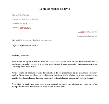 Lettre de relance client