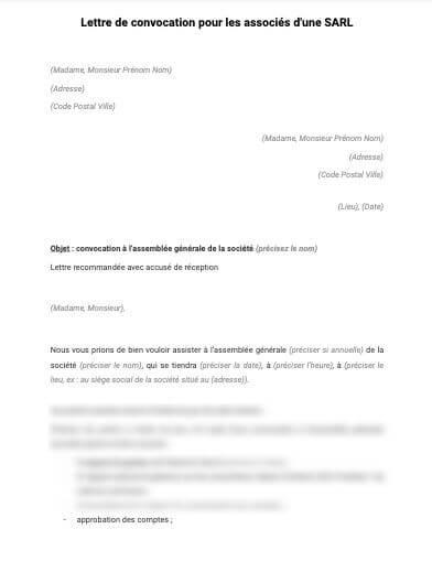 Lettre de convocation des associés à l'assemblée générale (SARL)