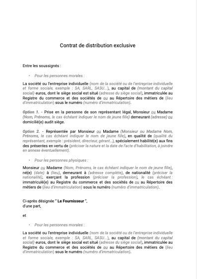 Contrat de distribution exclusive