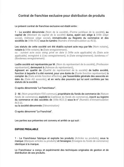 Contrat de franchise de distribution exclusive