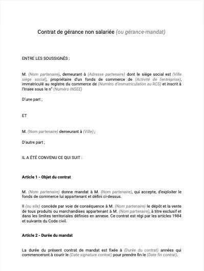 Contrat de gérance non salariée ou gérance mandat