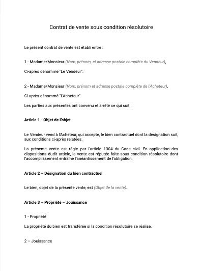 Contrat de vente sous conditions résolutoire