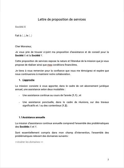 Modèle de lettre de proposition de services