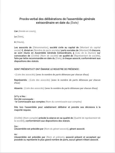 Procès verbal de délibération de l'assemblée générale