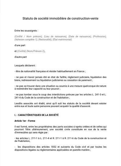 Statuts de société immobilière de construction-vente