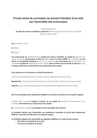 Modèle de PV nomination président SAS