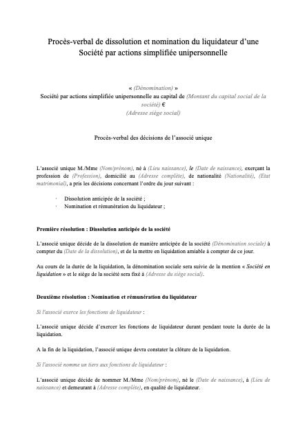 Modèle de PV dissolution SASU