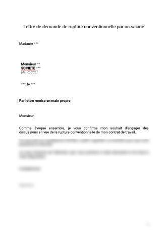 Lettre de demande de rupture conventionnelle par un salarié