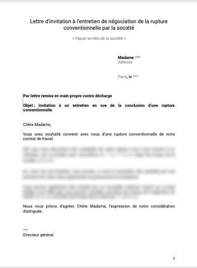 Lettre d'invitation à l'entretien de négociation de la rupture conventionnelle par la société