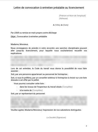Lettre de convocation à entretien prealable au licenciement