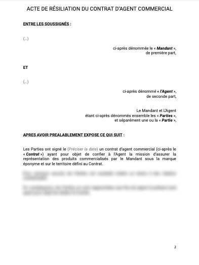 Acte de résiliation du contrat d'agent commercial