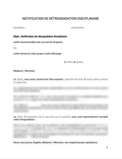 Notification de rétrogadation disciplinaire