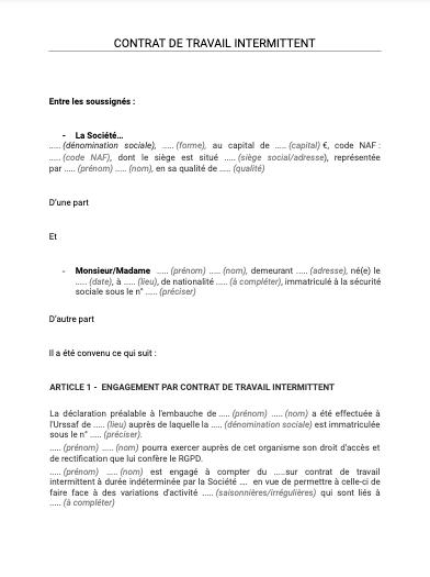 Contrat de travail intermittent