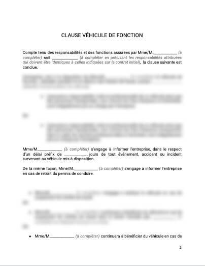 Contrat de travail Clause véhicule de fonction