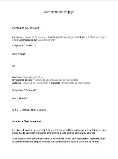 Contrat cadre pige