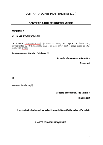 Contrat à durée indeterminée CDI