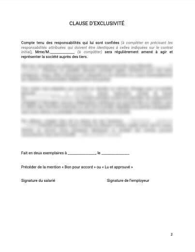 Clause d'exclusivité contrat de travail