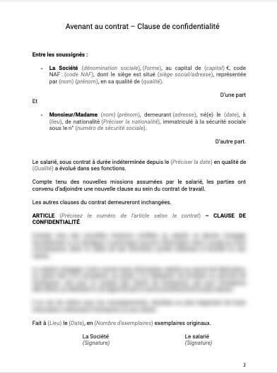 Avenant au contrat Clause de confidentialité