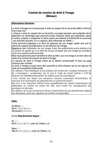 Contrat de cession de droit à l'image Mineur