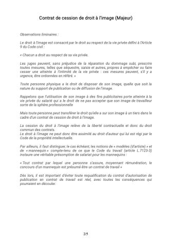 Contrat de cession de droit à l'image Majeur