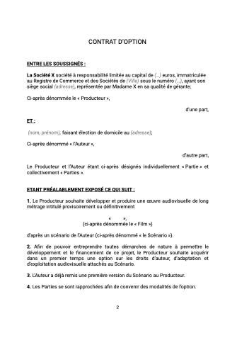 Contrat d'option