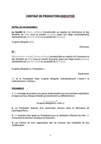 Contrat de production exécutive