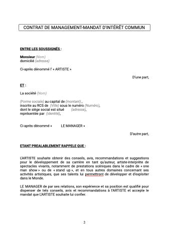 Contrat de management artiste généraliste
