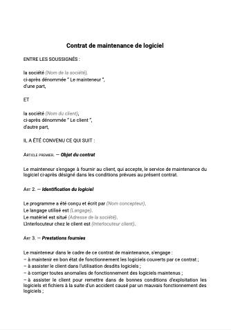 Contrat de maintenance logiciel