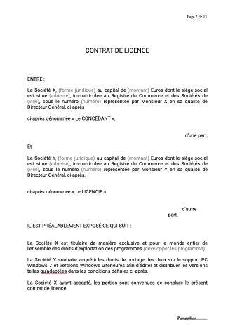 Contrat de licence programme multimedia