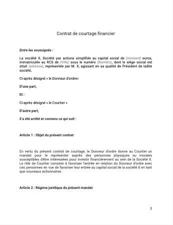 Contrat de courtage financier