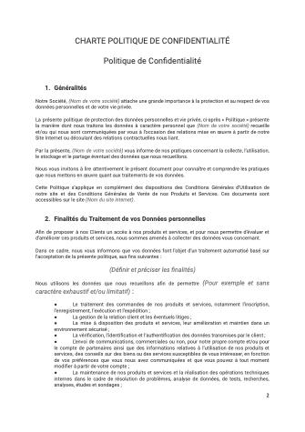 Charte Politique de confidentialité