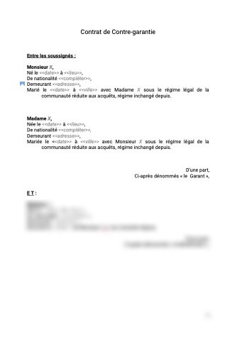 Contrat de contre-garantie