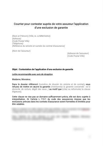 Contestation de l'application d'une exclusion de garantie