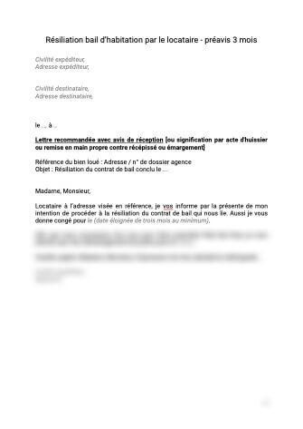 Résiliation bail d'habitation par le locataire avec préavis 3 mois