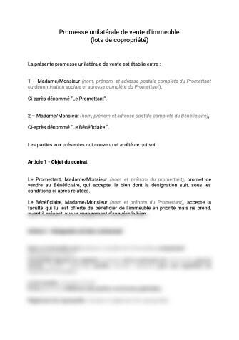 Promesse unilatérale de vente d'immeuble (lots de copropriété)