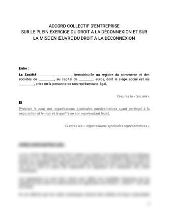 Droit à la deconnexion Accord collectif charte sur son plein exercice