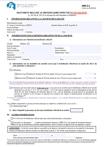 Modèle document relatif au bénéficiaire effectif SCI DBE-S-1
