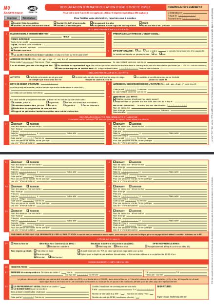 Modèle formulaire M0 SCI