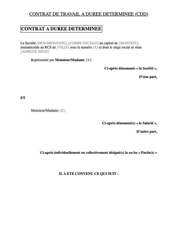 Contrat à durée déterminée CDD