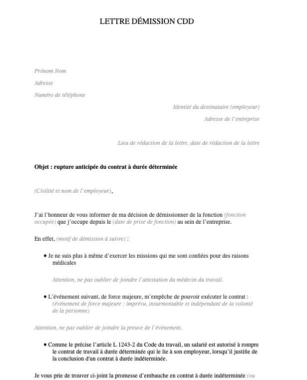 Lettre démission CDD